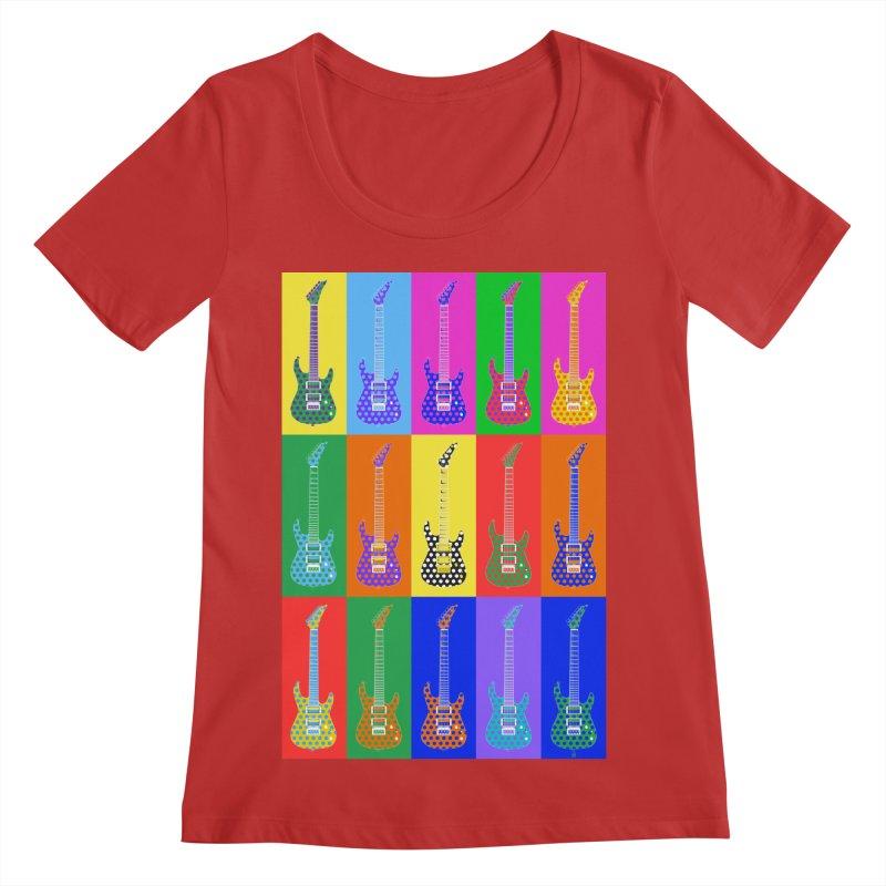Guitar Warhol Dots Women's Regular Scoop Neck by Armando Padilla Artist Shop