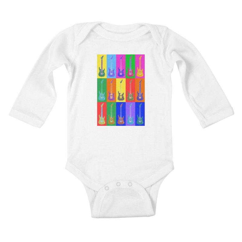 Guitar Warhol Dots Kids Baby Longsleeve Bodysuit by Armando Padilla Artist Shop