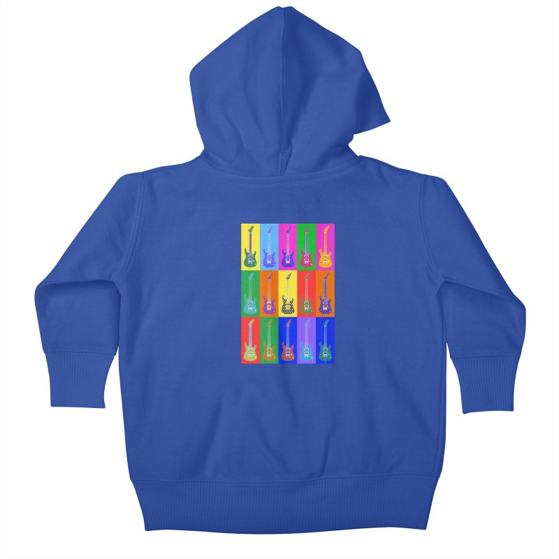 Guitar Warhol Dots Kids Baby Zip-Up Hoody by Armando Padilla Artist Shop