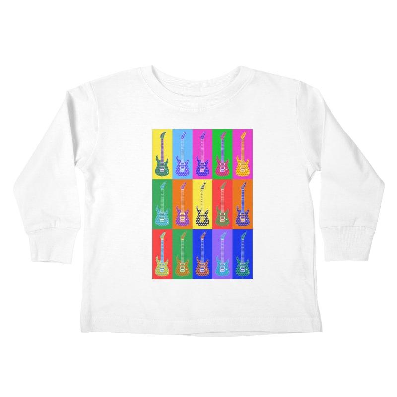 Guitar Warhol Dots Kids Toddler Longsleeve T-Shirt by Armando Padilla Artist Shop