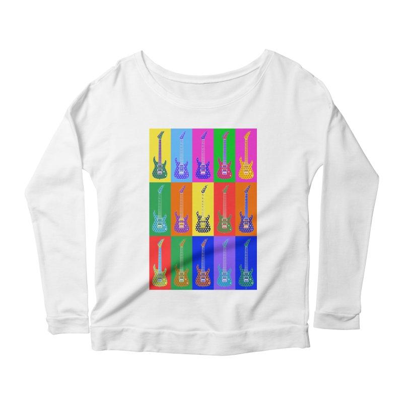 Guitar Warhol Dots Women's Scoop Neck Longsleeve T-Shirt by Armando Padilla Artist Shop
