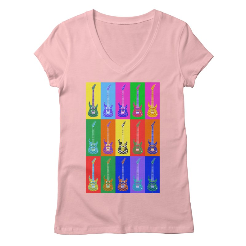 Guitar Warhol Dots Women's Regular V-Neck by Armando Padilla Artist Shop