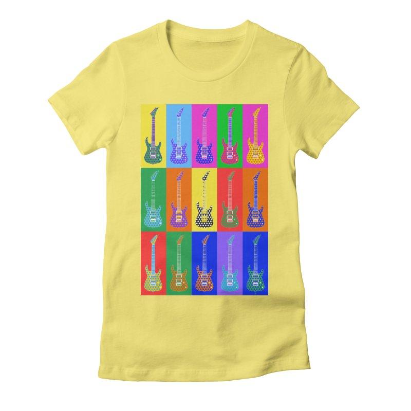 Guitar Warhol Dots Women's Fitted T-Shirt by Armando Padilla Artist Shop