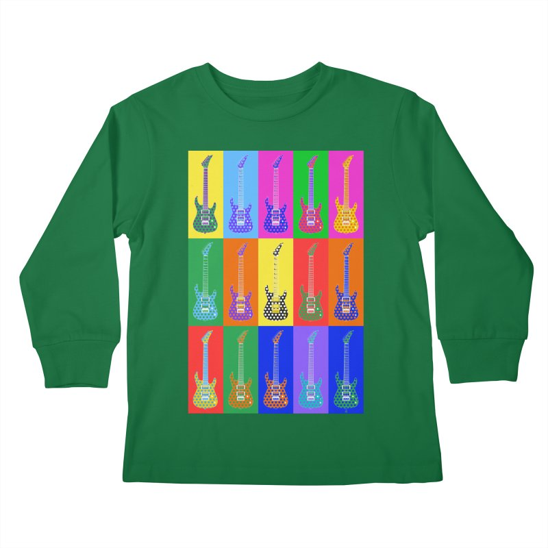 Guitar Warhol Dots Kids Longsleeve T-Shirt by Armando Padilla Artist Shop