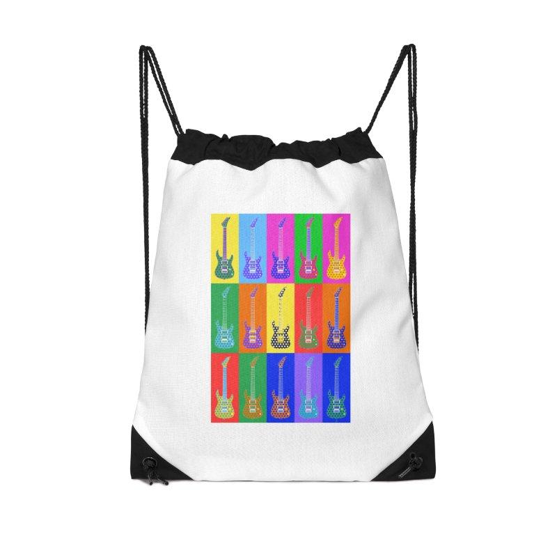 Guitar Warhol Dots Accessories Drawstring Bag Bag by Armando Padilla Artist Shop