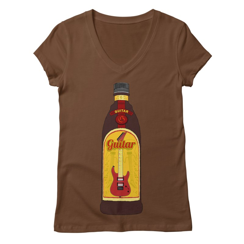 Guitar Bottle Women's Regular V-Neck by Armando Padilla Artist Shop