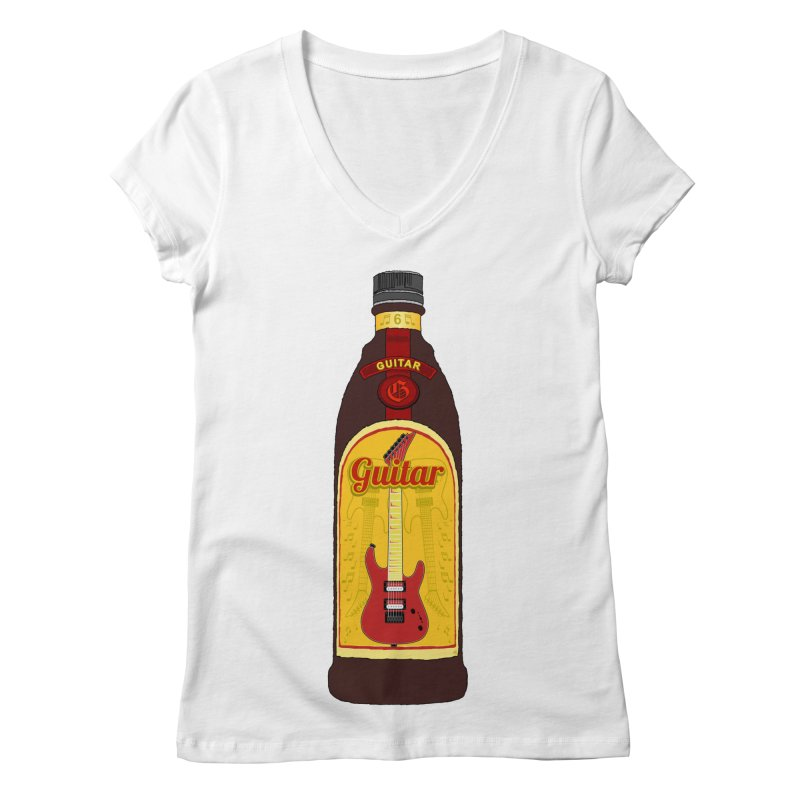 Guitar Bottle Women's Regular V-Neck by Armando Padilla Artist Shop
