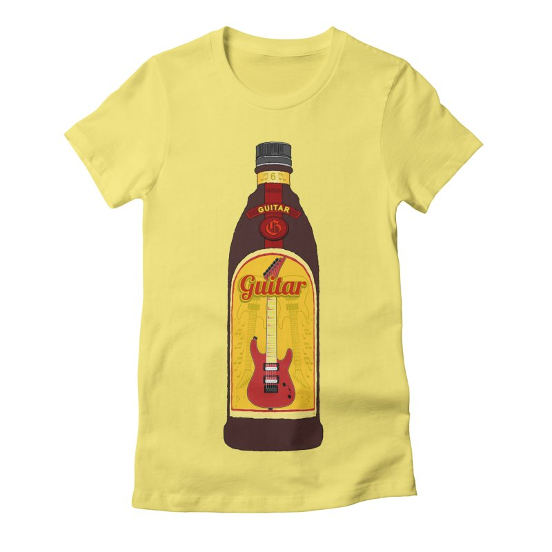 Guitar Bottle Women's Fitted T-Shirt by Armando Padilla Artist Shop