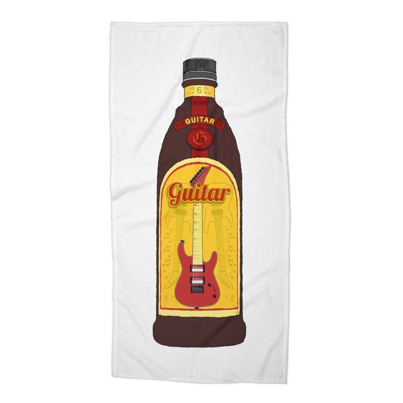 Guitar Bottle Accessories Beach Towel by Armando Padilla Artist Shop