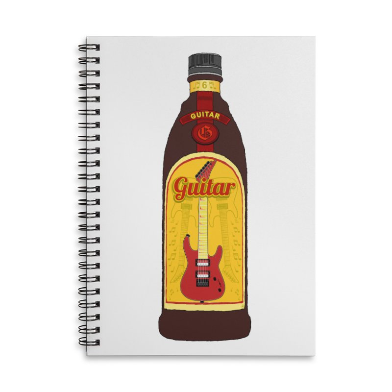 Guitar Bottle Accessories Lined Spiral Notebook by Armando Padilla Artist Shop