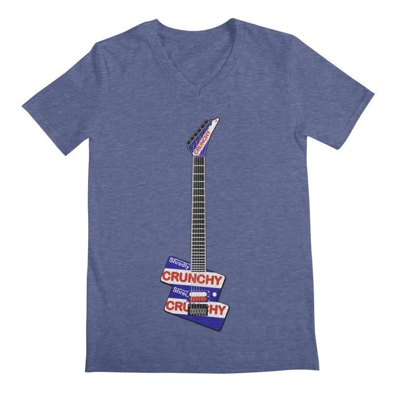 Crunchy Guitar Men's Regular V-Neck by Armando Padilla Artist Shop
