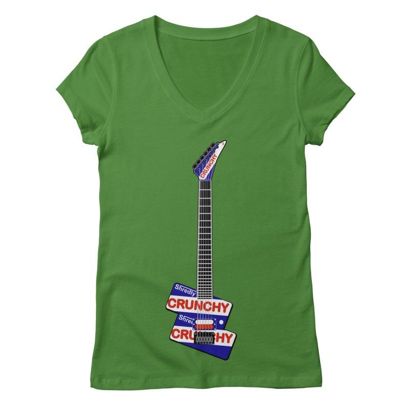 Crunchy Guitar Women's Regular V-Neck by Armando Padilla Artist Shop