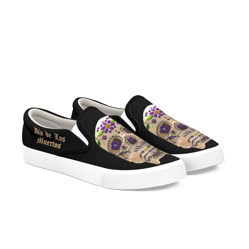 Dia De Los Muertos Sugar Skull One Women's Slip-On Shoes by Armando Padilla Artist Shop