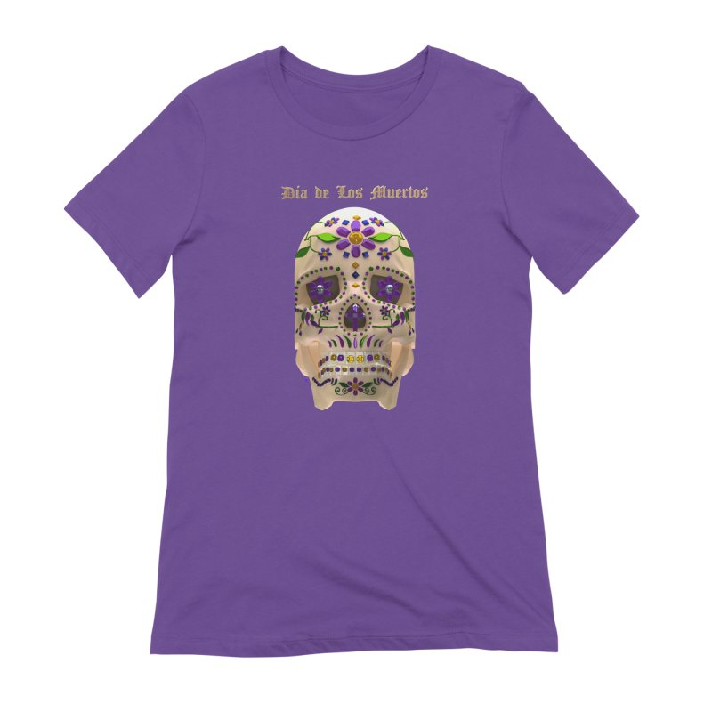 Dia De Los Muertos Sugar Skull One in Women's Extra Soft T-Shirt Purple by Armando Padilla Artist Shop