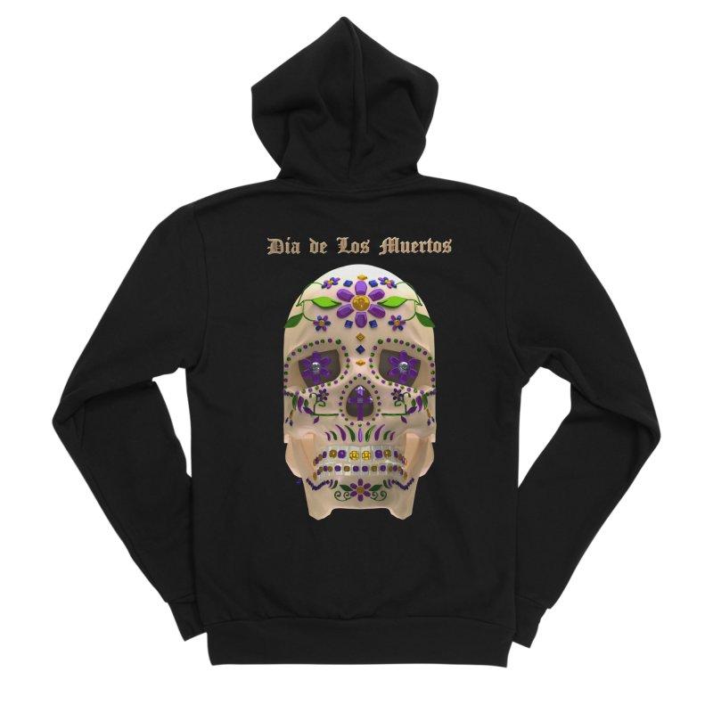 Dia De Los Muertos Sugar Skull One Women's Sponge Fleece Zip-Up Hoody by Armando Padilla Artist Shop
