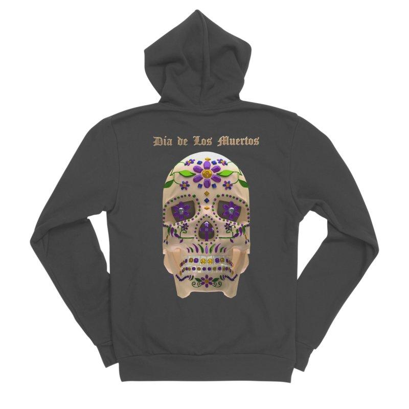 Dia De Los Muertos Sugar Skull One Men's Sponge Fleece Zip-Up Hoody by Armando Padilla Artist Shop