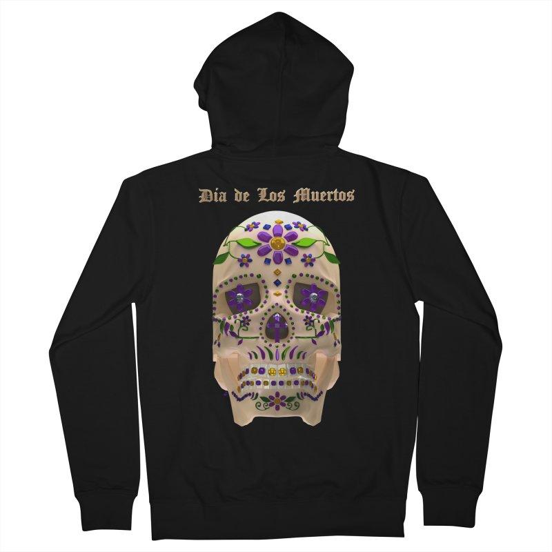 Dia De Los Muertos Sugar Skull One Women's French Terry Zip-Up Hoody by Armando Padilla Artist Shop