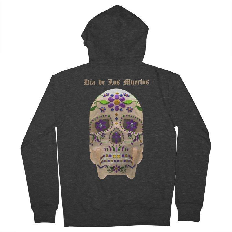 Dia De Los Muertos Sugar Skull One Men's French Terry Zip-Up Hoody by Armando Padilla Artist Shop