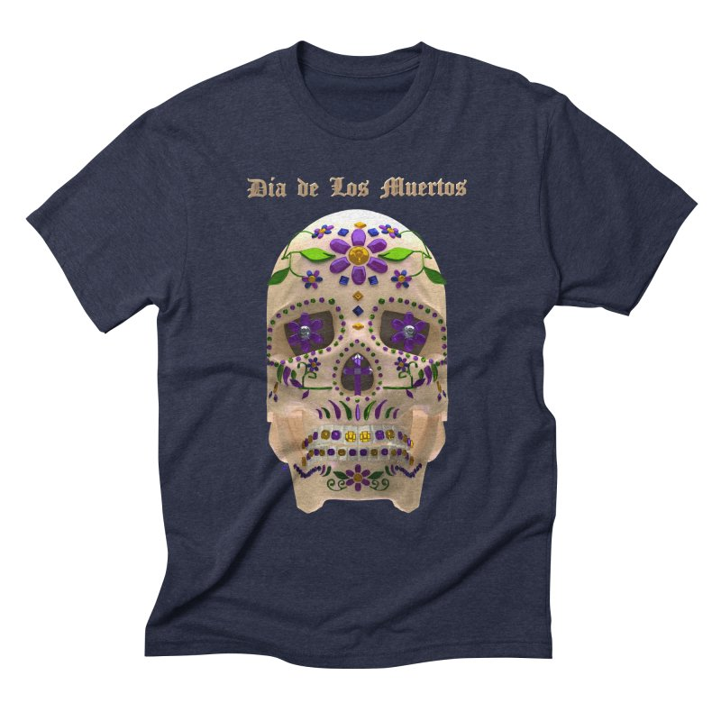 Dia De Los Muertos Sugar Skull One Men's Triblend T-Shirt by Armando Padilla Artist Shop