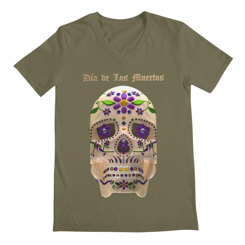 Dia De Los Muertos Sugar Skull One Men's V-Neck by Armando Padilla Artist Shop