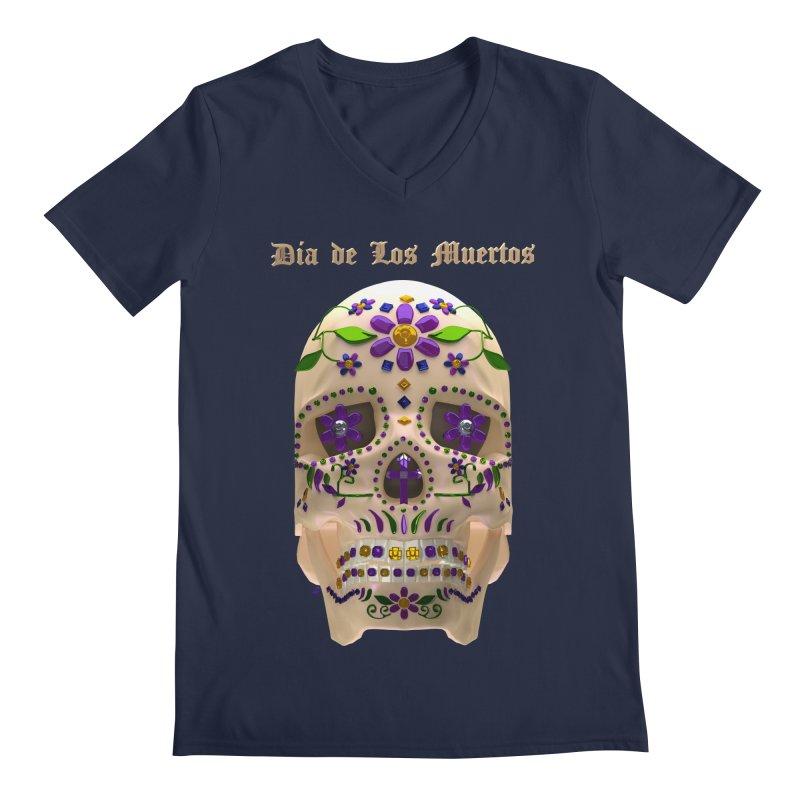 Dia De Los Muertos Sugar Skull One Men's Regular V-Neck by Armando Padilla Artist Shop