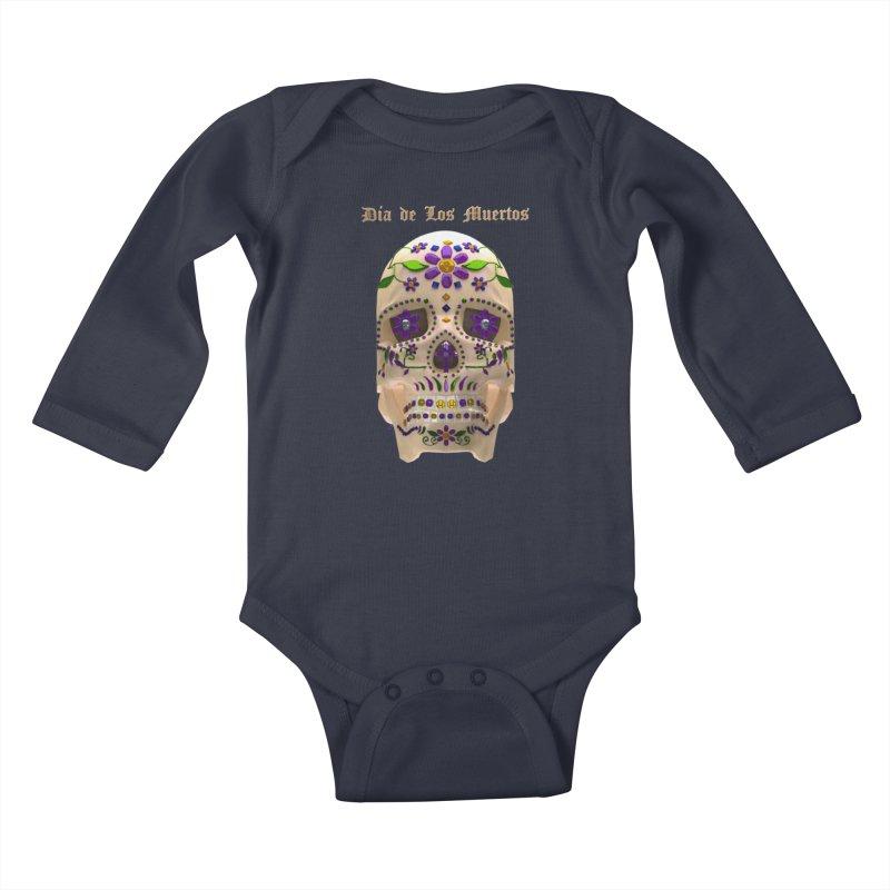 Dia De Los Muertos Sugar Skull One Kids Baby Longsleeve Bodysuit by Armando Padilla Artist Shop