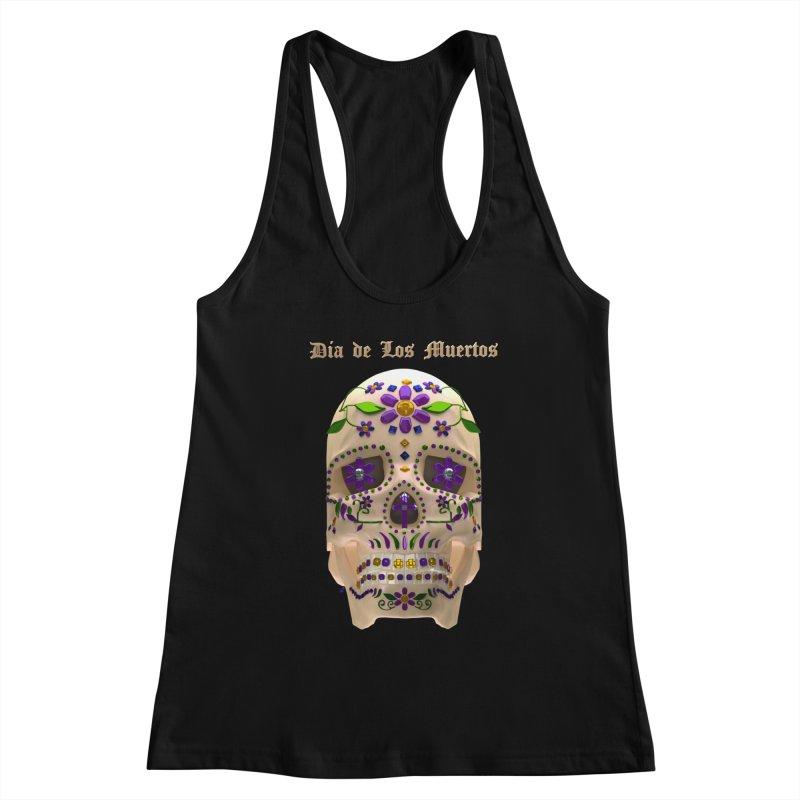 Dia De Los Muertos Sugar Skull One Women's Racerback Tank by Armando Padilla Artist Shop