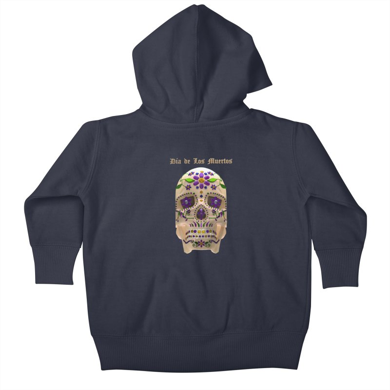 Dia De Los Muertos Sugar Skull One Kids Baby Zip-Up Hoody by Armando Padilla Artist Shop