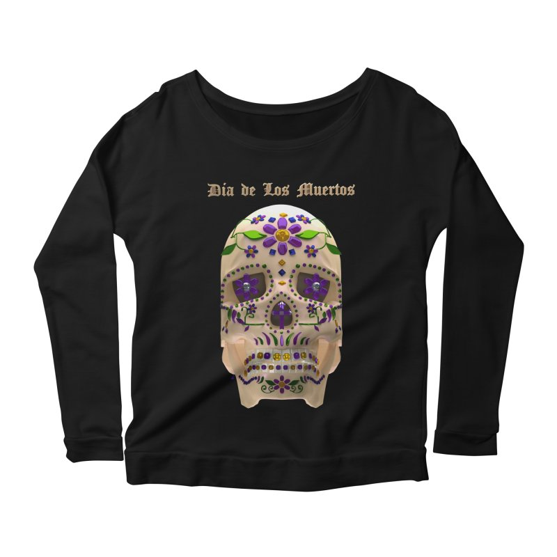 Dia De Los Muertos Sugar Skull One Women's Scoop Neck Longsleeve T-Shirt by Armando Padilla Artist Shop