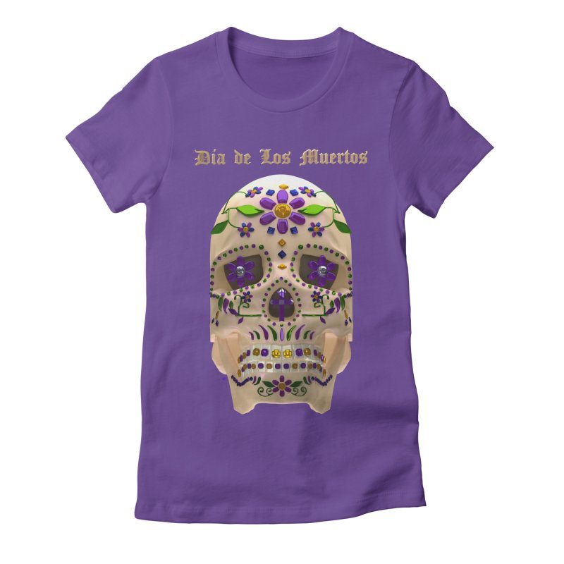 Dia De Los Muertos Sugar Skull One Women's Fitted T-Shirt by Armando Padilla Artist Shop