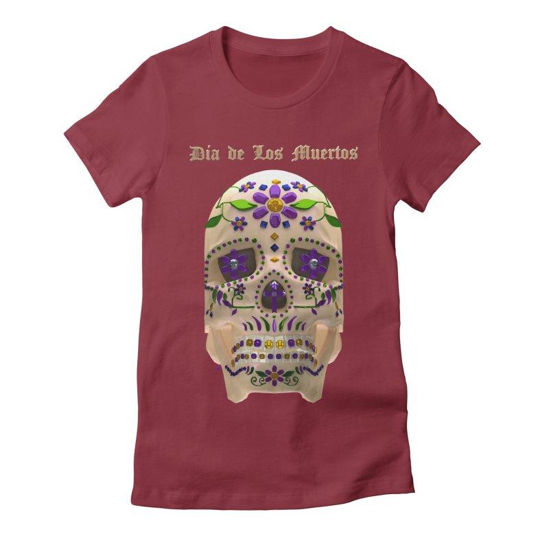 Dia De Los Muertos Sugar Skull One Women's Fitted T-Shirt by Armando Padilla Artist Shop