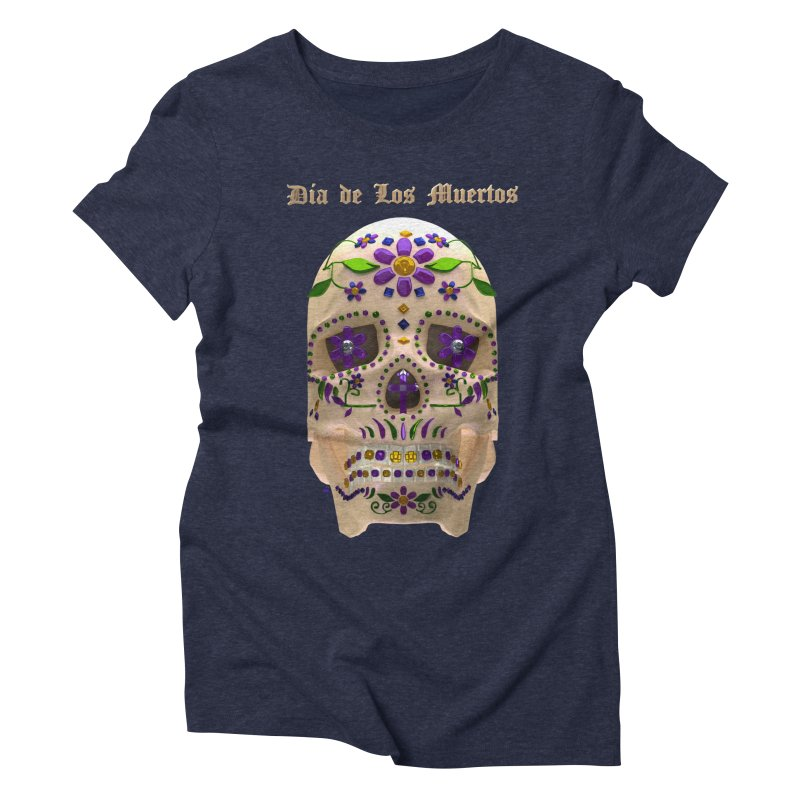 Dia De Los Muertos Sugar Skull One Women's Triblend T-Shirt by Armando Padilla Artist Shop