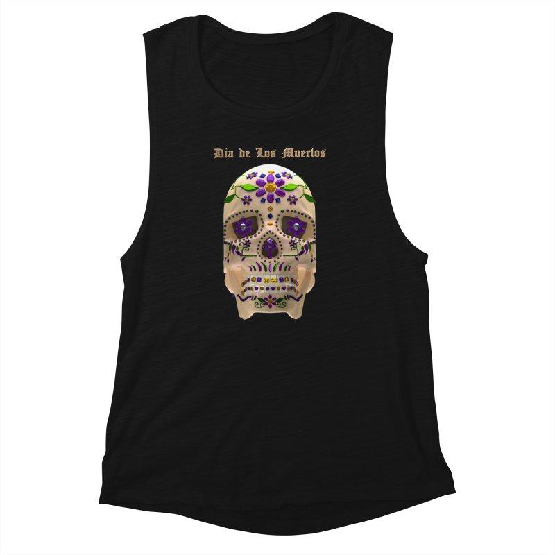 Dia De Los Muertos Sugar Skull One Women's Muscle Tank by Armando Padilla Artist Shop