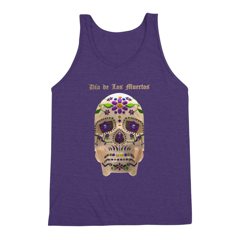 Dia De Los Muertos Sugar Skull One Men's Triblend Tank by Armando Padilla Artist Shop