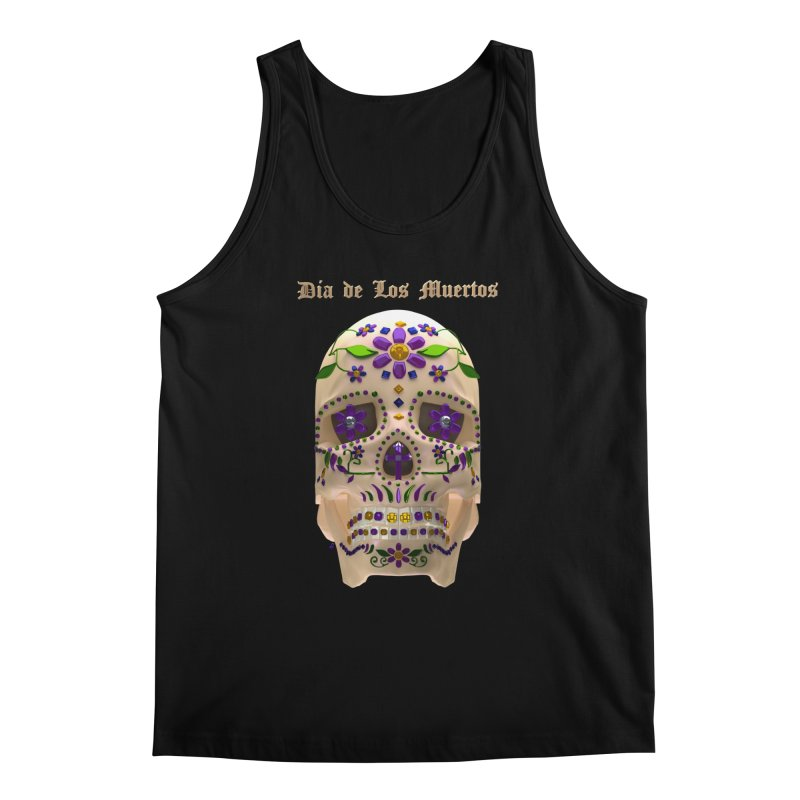Dia De Los Muertos Sugar Skull One Men's Regular Tank by Armando Padilla Artist Shop