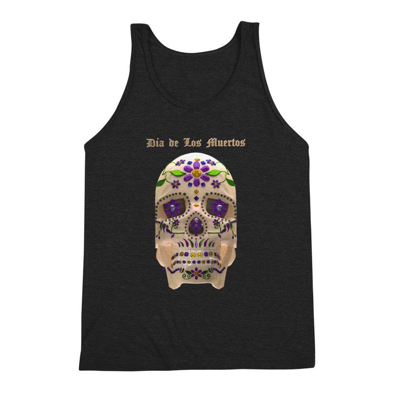 Dia De Los Muertos Sugar Skull One Men's Triblend Tank by Armando Padilla Artist Shop
