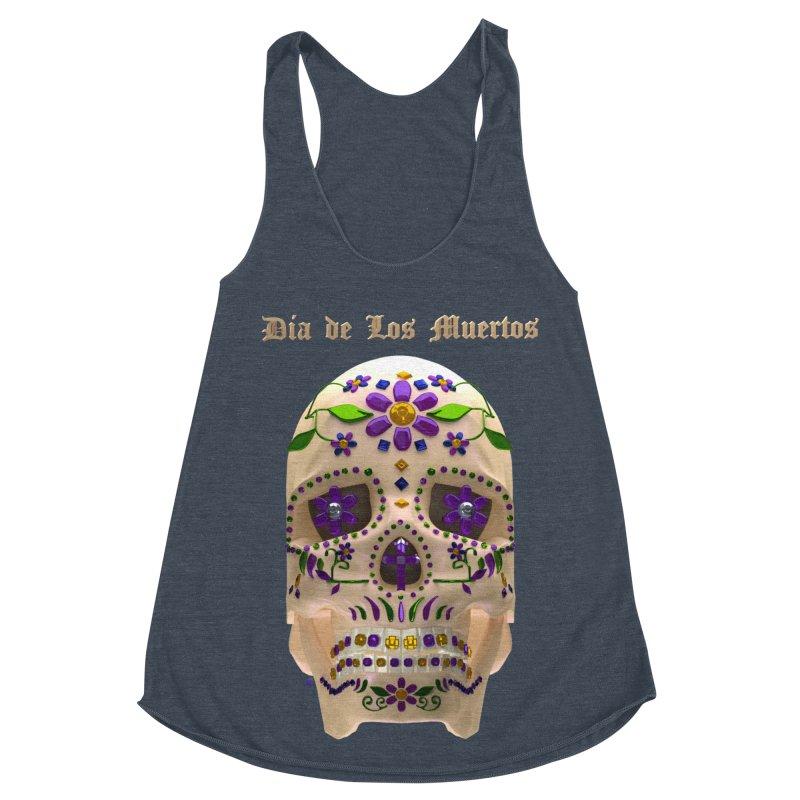 Dia De Los Muertos Sugar Skull One Women's Racerback Triblend Tank by Armando Padilla Artist Shop