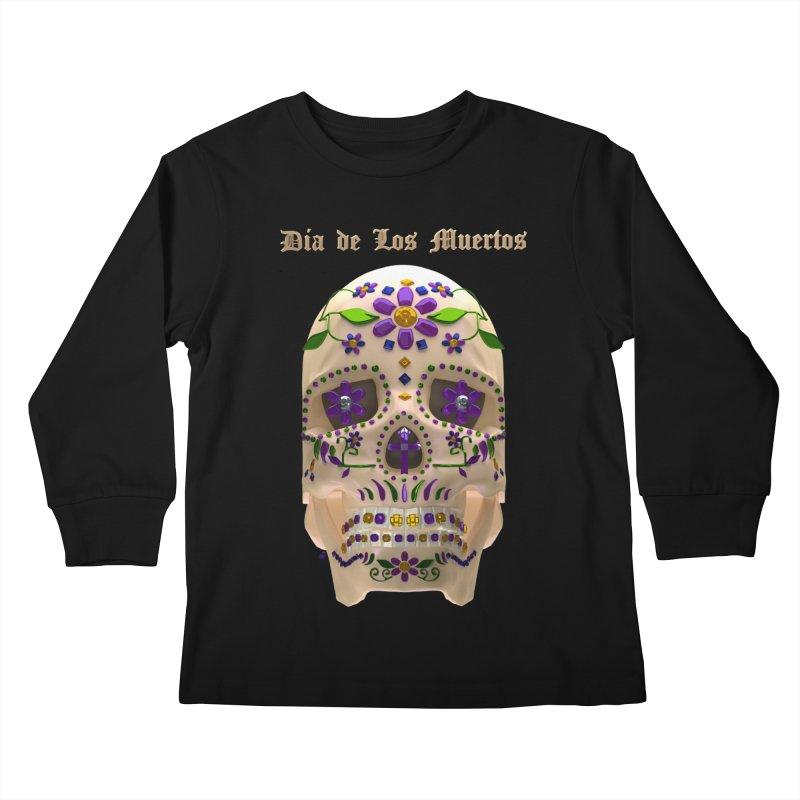 Dia De Los Muertos Sugar Skull One Kids Longsleeve T-Shirt by Armando Padilla Artist Shop