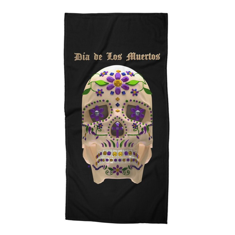 Dia De Los Muertos Sugar Skull One Accessories Beach Towel by Armando Padilla Artist Shop