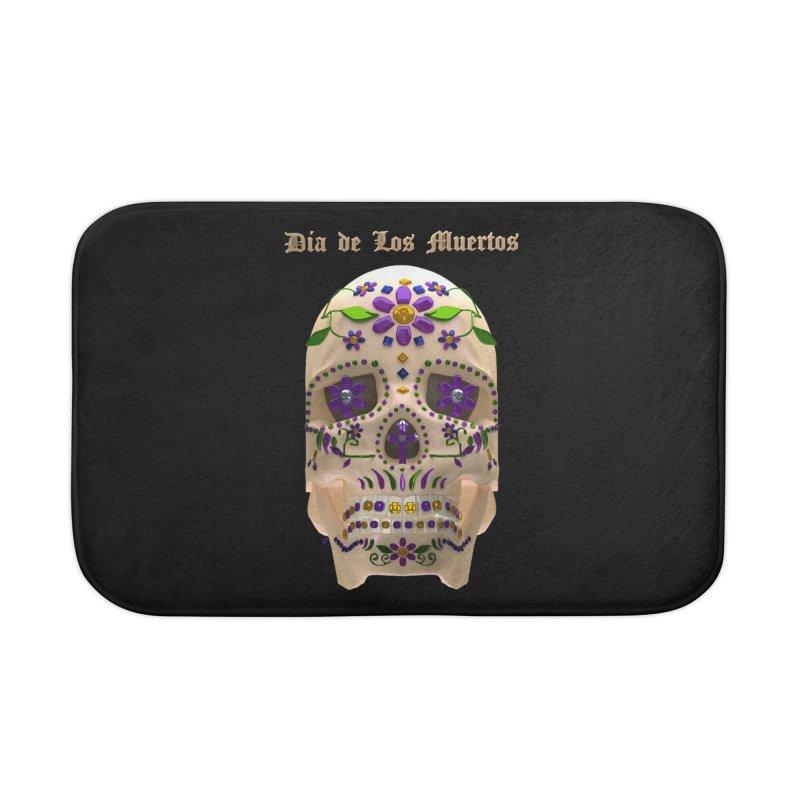 Dia De Los Muertos Sugar Skull One Home Bath Mat by Armando Padilla Artist Shop
