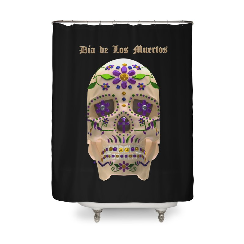 Dia De Los Muertos Sugar Skull One Home Shower Curtain by Armando Padilla Artist Shop