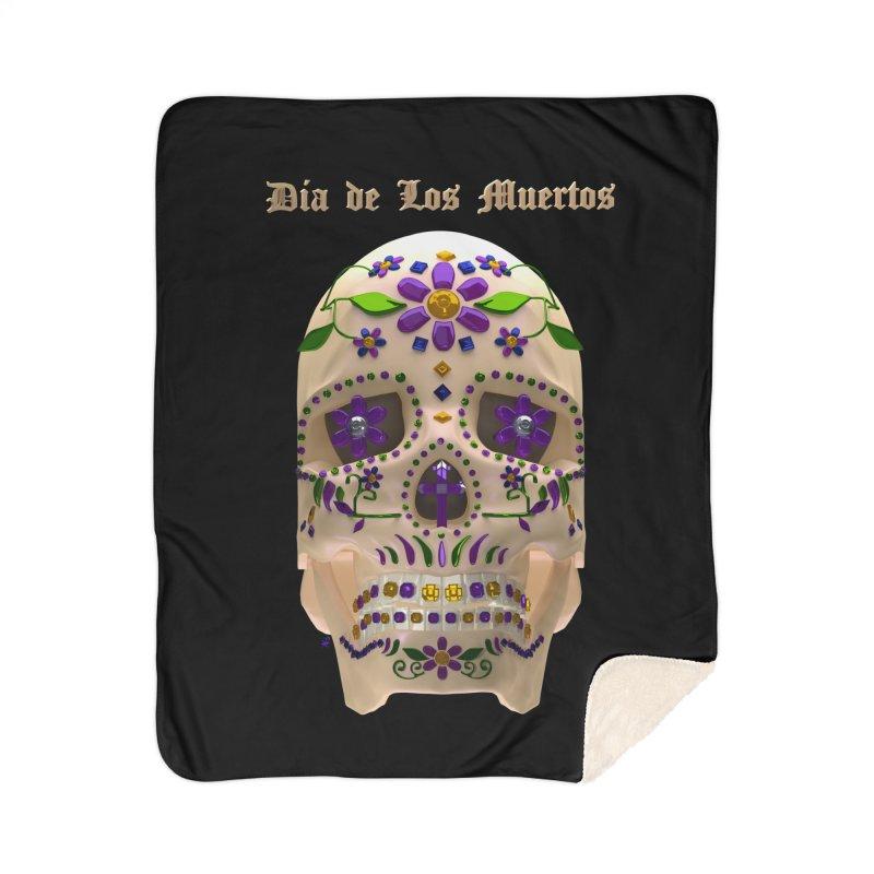 Dia De Los Muertos Sugar Skull One Home Sherpa Blanket Blanket by Armando Padilla Artist Shop
