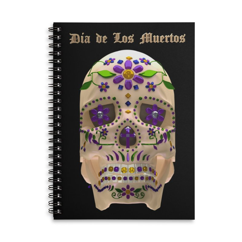 Dia De Los Muertos Sugar Skull One Accessories Lined Spiral Notebook by Armando Padilla Artist Shop