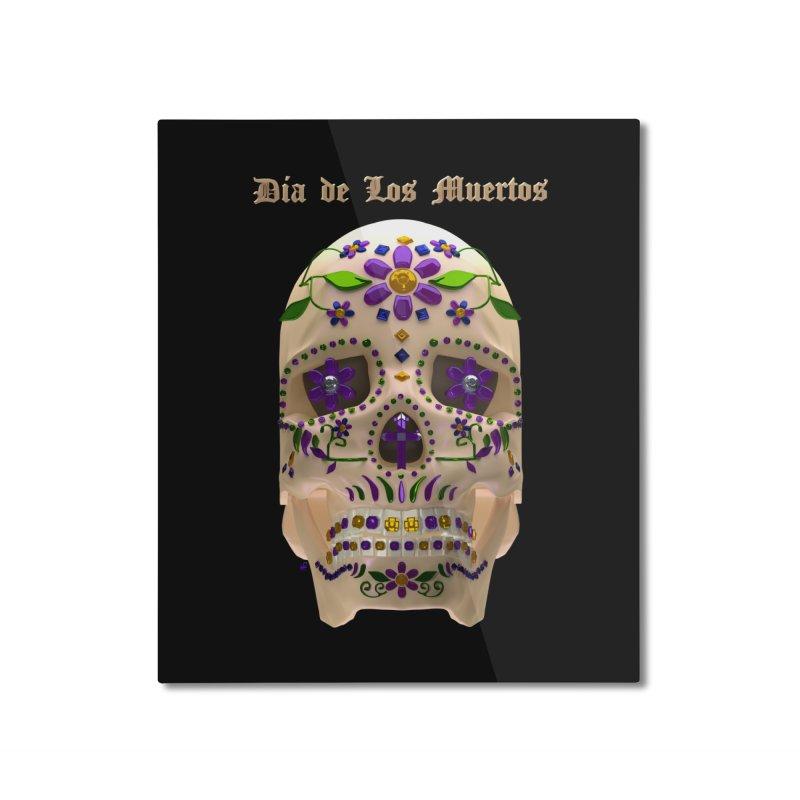Dia De Los Muertos Sugar Skull One Home Mounted Aluminum Print by Armando Padilla Artist Shop