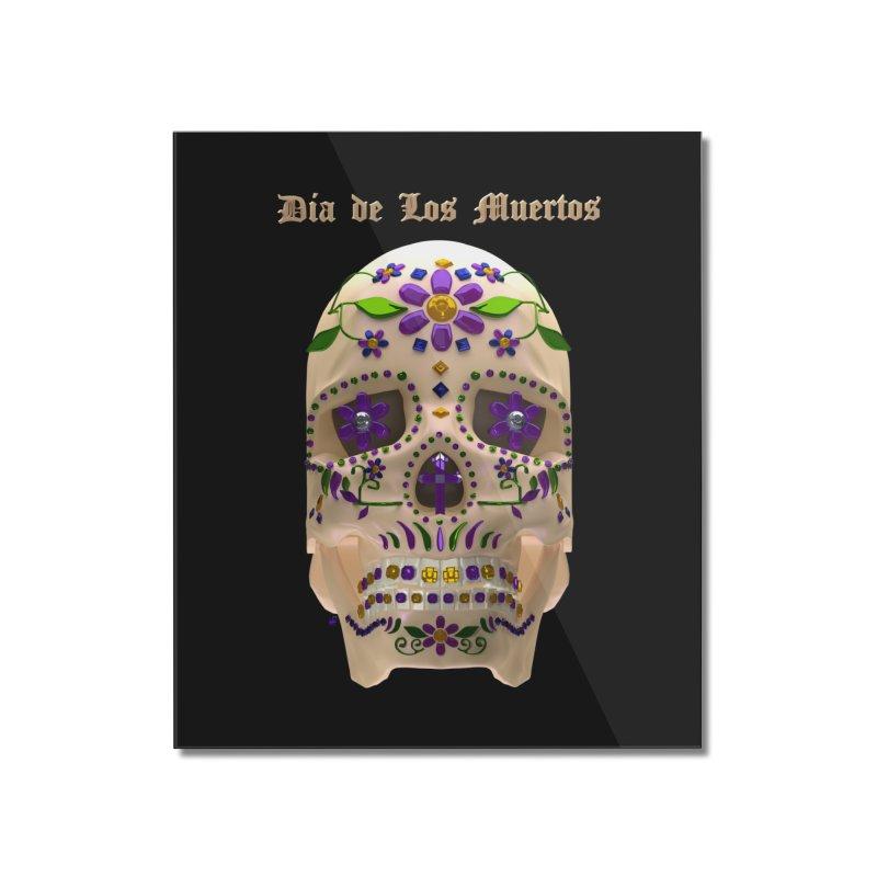 Dia De Los Muertos Sugar Skull One Home Mounted Acrylic Print by Armando Padilla Artist Shop