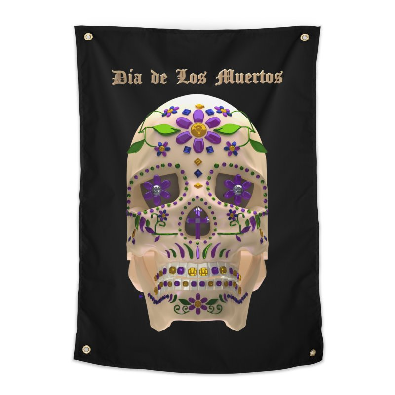 Dia De Los Muertos Sugar Skull One Home Tapestry by Armando Padilla Artist Shop
