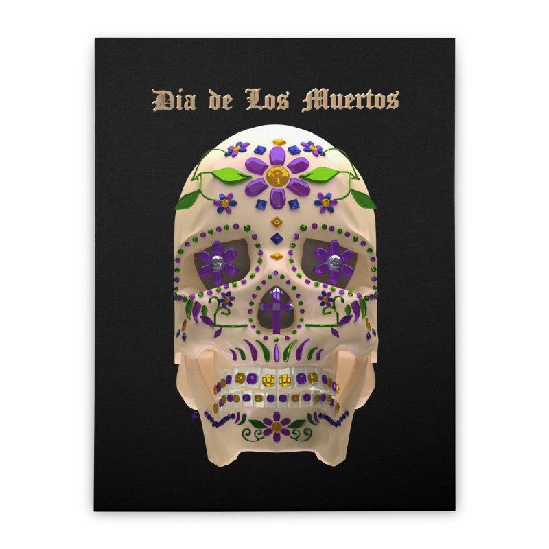 Dia De Los Muertos Sugar Skull One Home Stretched Canvas by Armando Padilla Artist Shop