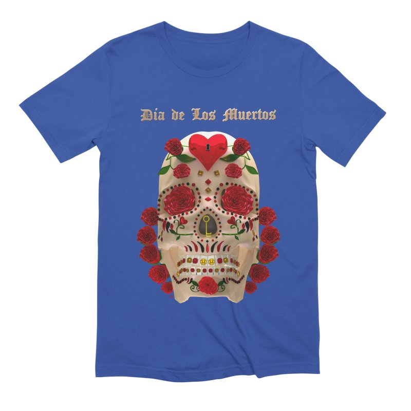 Dia De Los Muertos Key To Your Heart Men's Extra Soft T-Shirt by Armando Padilla Artist Shop