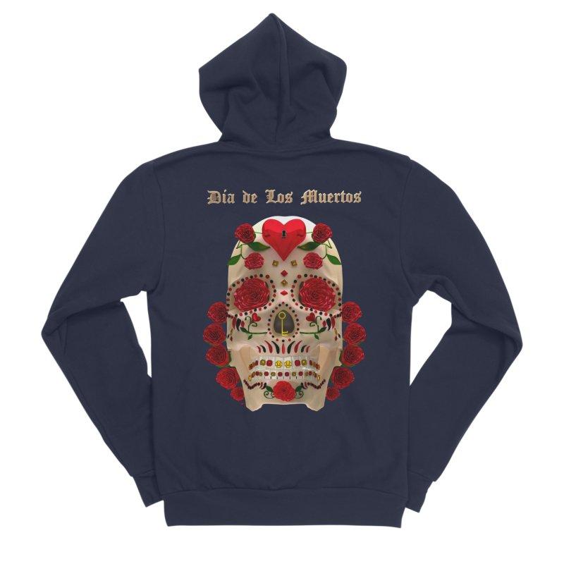 Dia De Los Muertos Key To Your Heart Men's Sponge Fleece Zip-Up Hoody by Armando Padilla Artist Shop