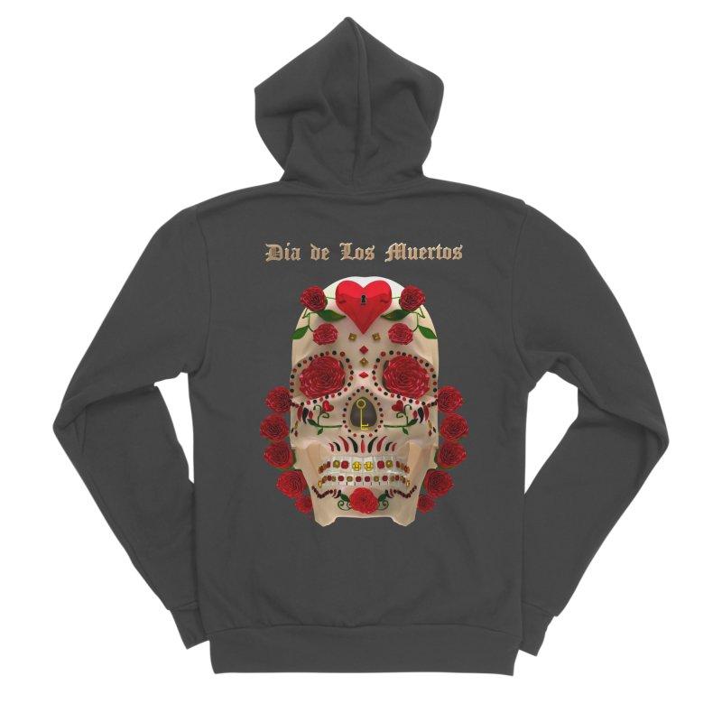 Dia De Los Muertos Key To Your Heart Women's Sponge Fleece Zip-Up Hoody by Armando Padilla Artist Shop